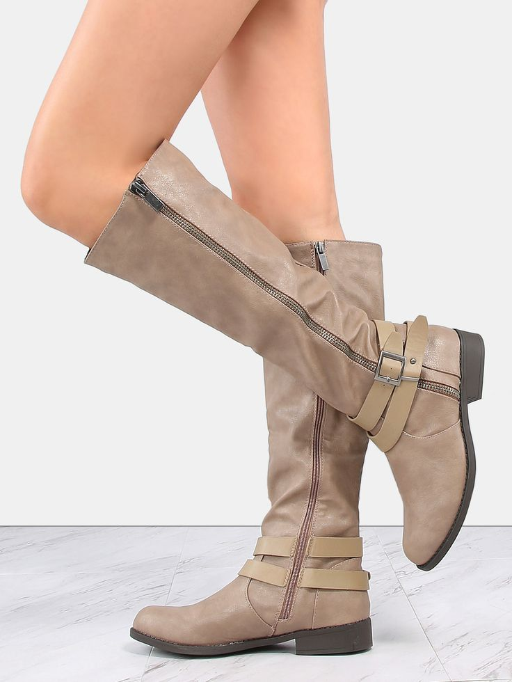 Shop Exposed Zipper Flat Knee Boots TAUPE online. SheIn offers Exposed Zipper Flat Knee Boots TAUPE & more to fit your fashionable needs.