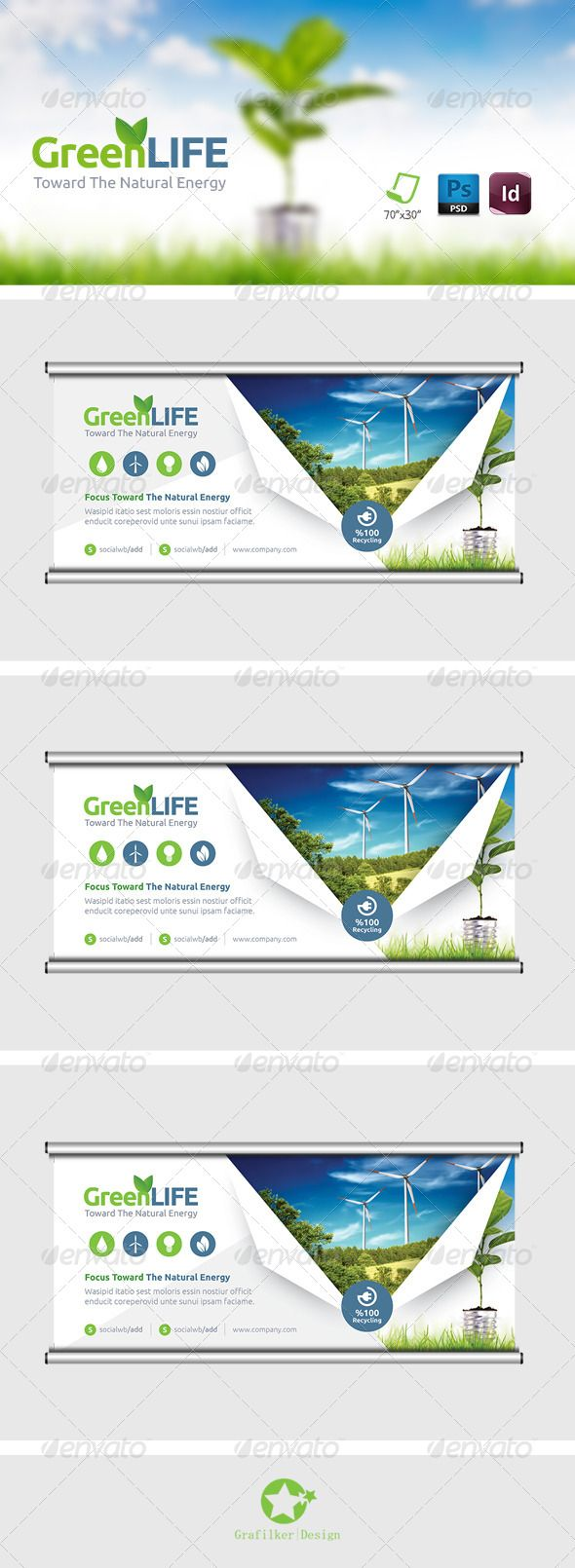 Green Energy Billboard Templates - Signage Print Templates