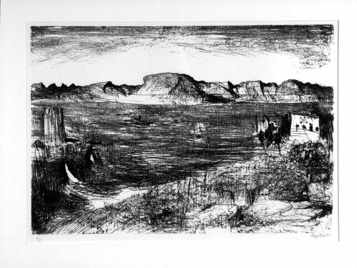 View over the Derwent - Lloyd Rees. Australian art. Landscape.