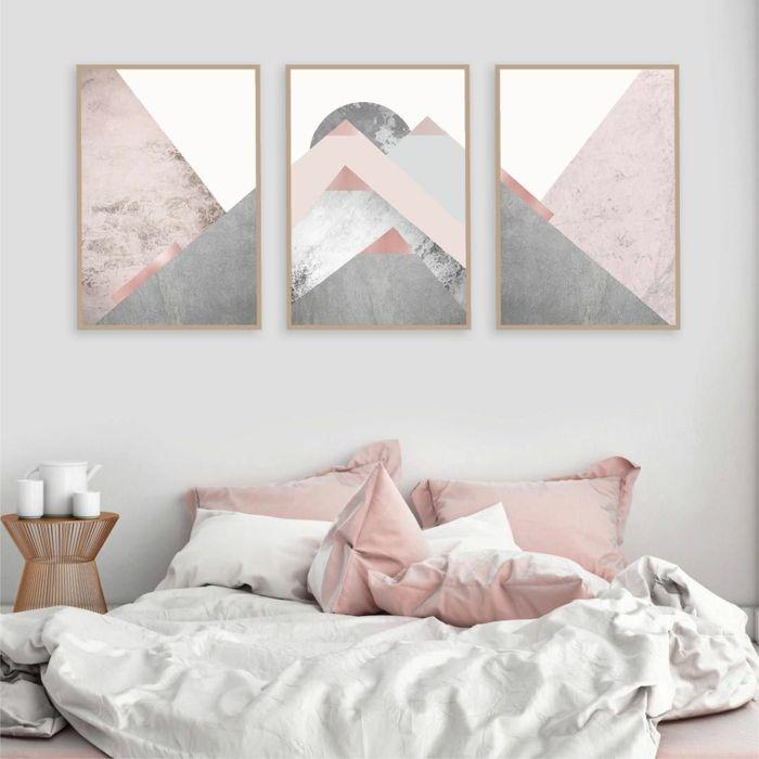 1001 Ideen Fur Bilder Fur Wandfarbe Altrosa Die Modern Und Stylisch Sind In 2020 Wandkunst Schlafzimmer Grau Und Gold Schlafzimmer Wand
