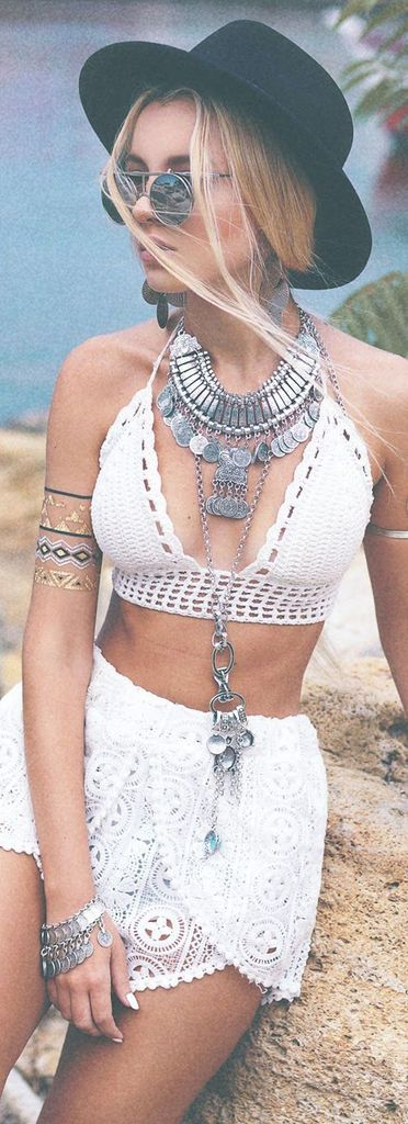 Boho Fashion Summer 2017 Vacation Beach - White Crochet Lace Crop Top & Skirt - Silver Coin Medallion Necklace at MyBodiArt.com