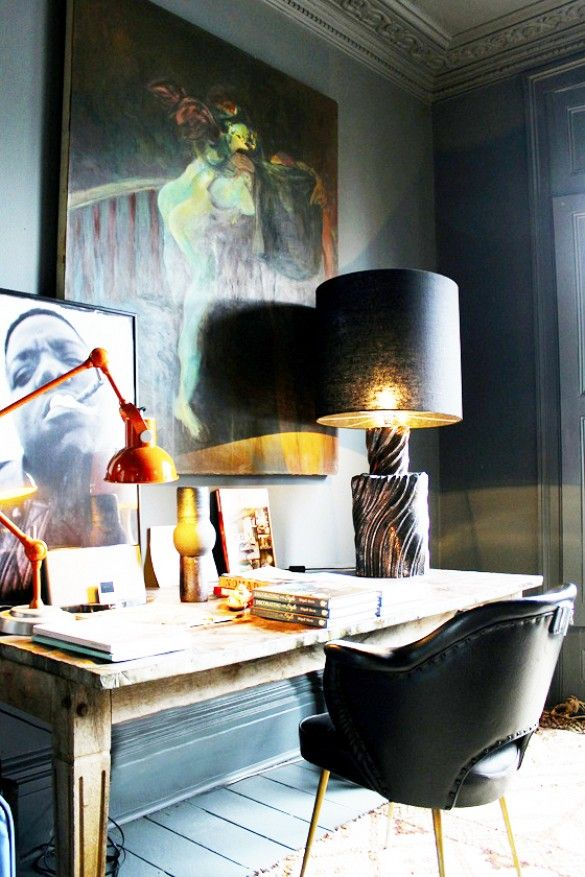10 Tips for Creating the Ultimate At-Home Office// leather desk chair, table lamp, orange task lamp, office design