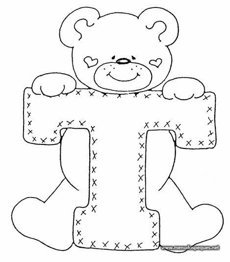 Dibujos para colorear letras | T | Dibujos para recortar y colorear