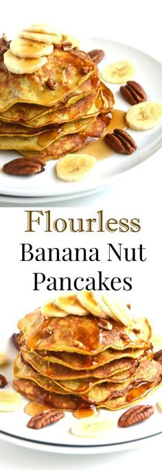 Flourless Banana Nut Pancakes require only 4-ingredients, are ready in 10 minutes and are nutritious with pecans, bananas, oats and eggs. // Nutritionist Reviews