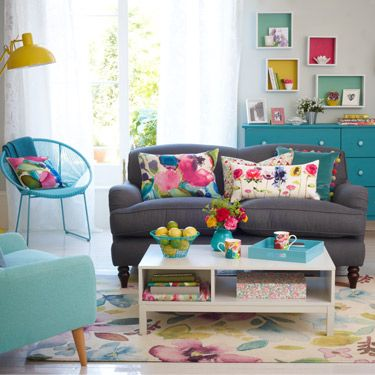 Bright Floral Living Room Colourful Living Room