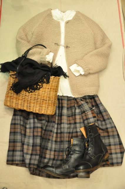 Kilt and sweater, with great boots
