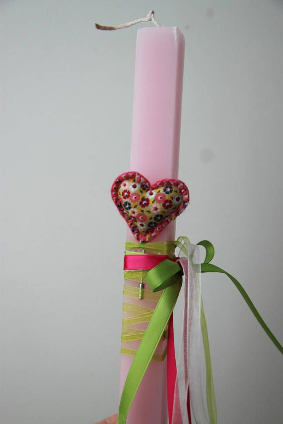 Greek Easter candle with heart plush brooch, pink Easter candle for girls with heart brooch, romantic, Easter candle for girls and women