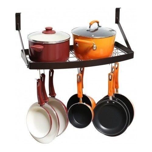 Wall-Mount-Pot-Rack-Kitchen-Pan-Organizer-Storage-Utility-Hanger-Black-Shelf-Lid
