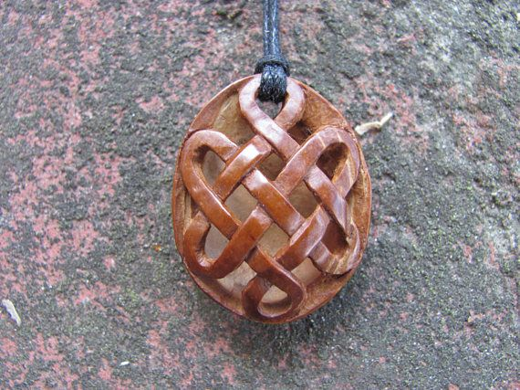 Endless Knot Design Fretwork Apricot Pit Pendant Unique Hand