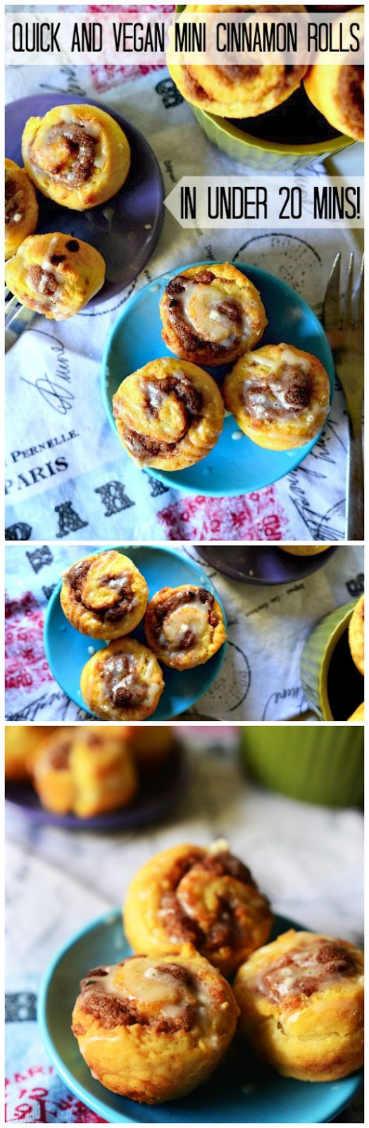 Quick and Vegan Biscuit Cinnamon Rolls - These easy vegan cinnamon rolls are made out of biscuit dough so they come together quickly. They're perfect a quick and easy vegan breakfast! Click here for the recipe or pin for later <3