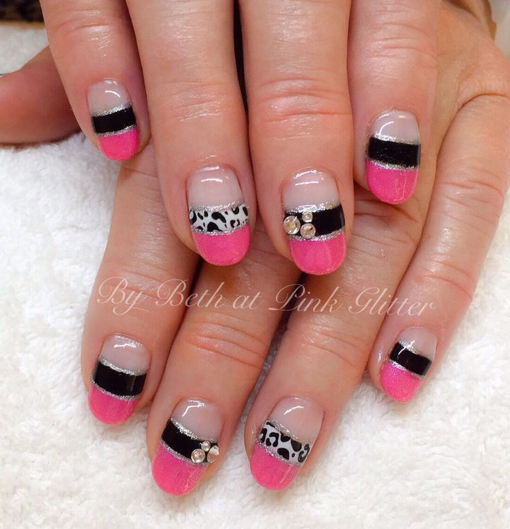pink and black french nails nail art by pink glitter
