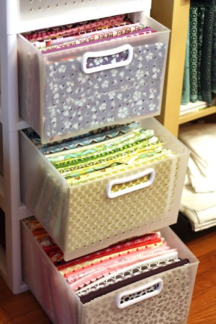 Breathable plastic storage drawers for organizing my fabric.  from Target.  My Fabric Obsession: WIP Wednesday {24}