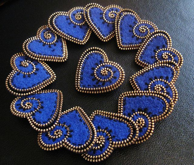 Beautiful Blue Hearts made out of Zippers and Felt by woolly fabulous.