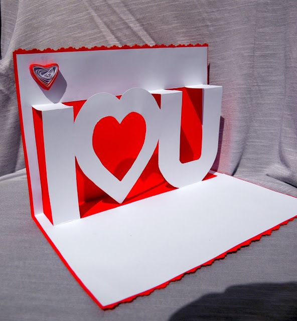 "Felicitare Quilling + Pop Up ""I love U""  Birthday card I love You"