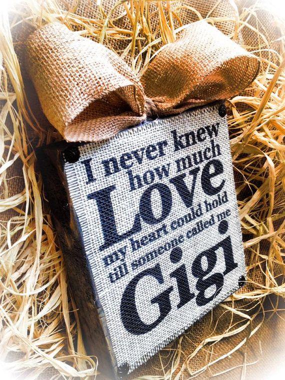 Gigi Sign  Burlap SIgn  Wood Burlap Block  Love by DesignsBySyds