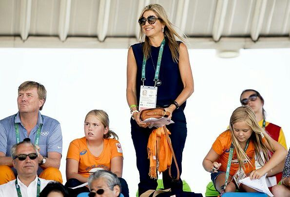 On August 16, 2016, King Willem-Alexander and Queen Maxima along with their daughters, Crown Princess Amalia, Princess Alexia and Princess Ariane of The Netherlands are seen in the stands during the Equestrian's Show Jumping of Netherlands' Jeroen Dubbeldam at the Olympics in Rio de Janeiro, Brazil.