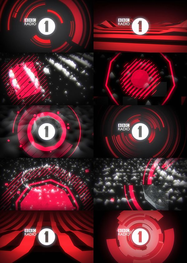 Motion graphics - style frames BBC Radio 1 Club Visuals by Jordi Pagès, via Behance