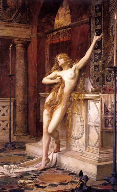 Hypatia was a brilliant philosopher and mathematician, head of the platonist school at Alexandria in the forth century. She is portrayed here by Charles William Mitchell while she was humiliated and about to be murdered by Christians who intended to destroy any symbol of pagan knowledge.