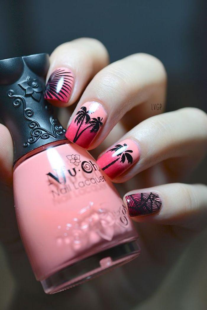 Sommer Nageldesign in Rosa, schwarze Palmen als Dekoration, Fingernägel für Sommerstimmung