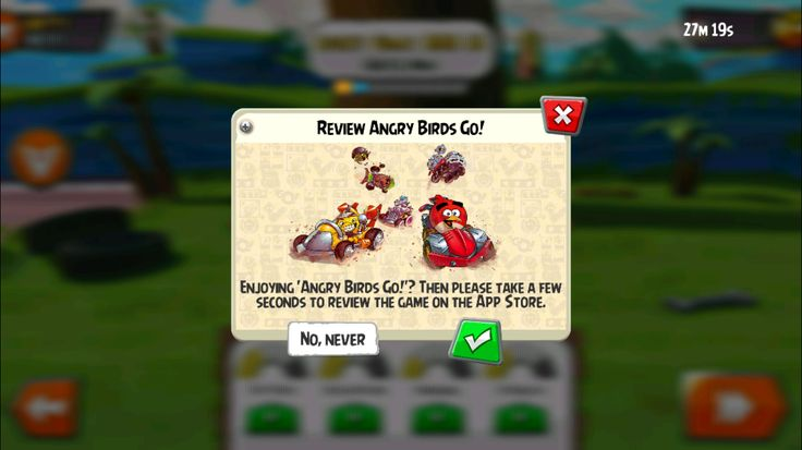 Angry Birds GO! Rating Review Modal pop up.