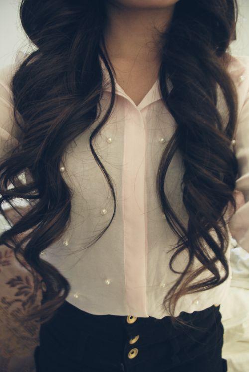 wavy long hair, glossy, healthy, hair and fashion