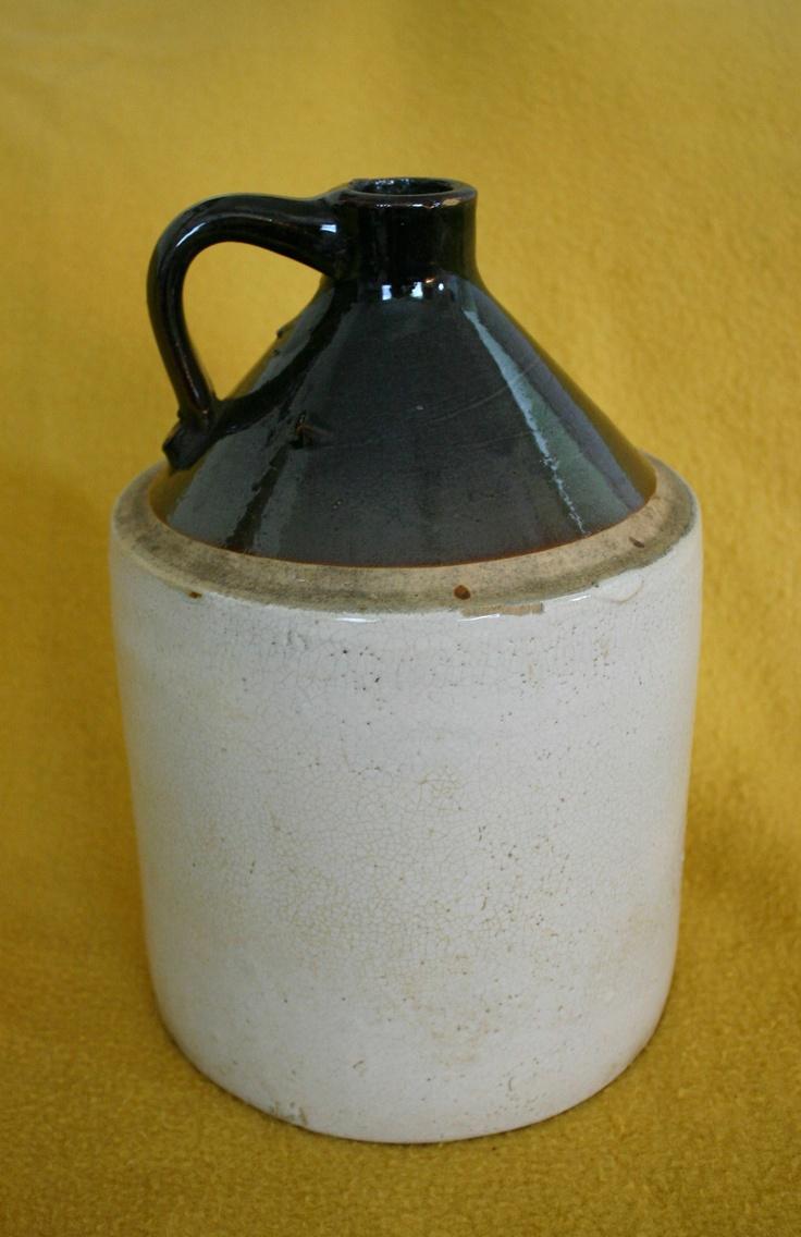 Antique Primitive Crock Stoneware Salt Glazed Handled Whiskey or Moonshine Jug