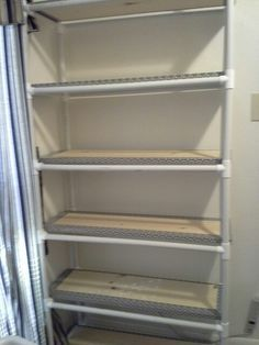 PVC Pipe storage shelves. I built this. Some projects do work out right More