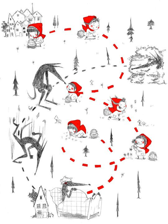 very cute illustration of the respsective paths and intersections of Le petit chaperon rouge (Little Red Riding Hood) and le loup (the wolf)