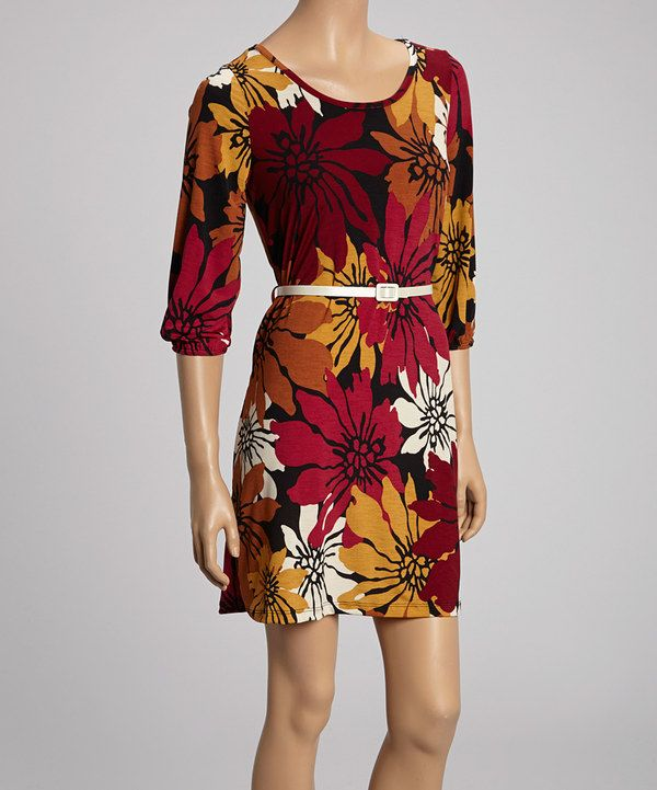 Take A Look At This Red Floral Belted Dress On Zulily Today
