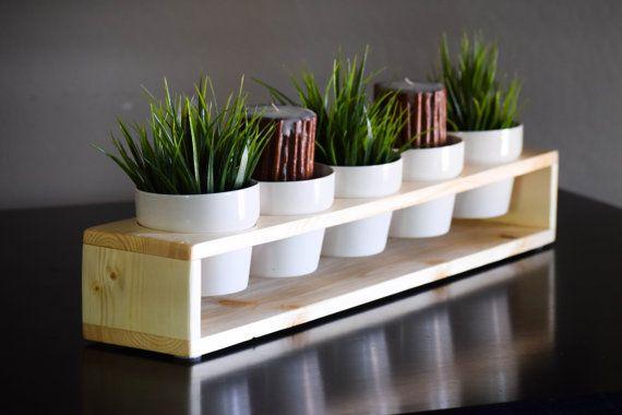 Flotante en macetas centro de mesa con cinco ollas por Mintblooms