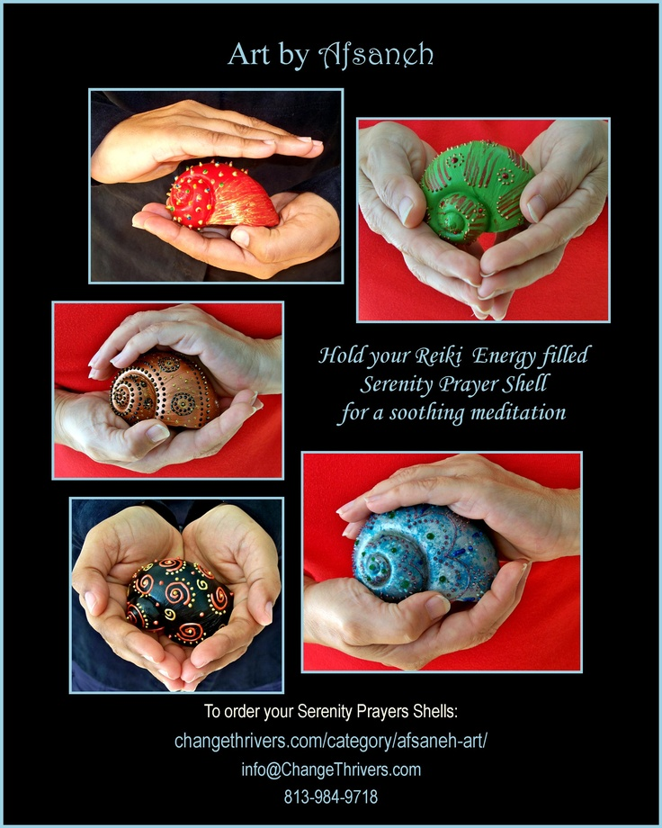 Serenity Prayer Shells  are filled with Reiki healing energy and make a perfect meditation tool. Hold your Serenity prayers Shells in your hands, close your eyes, take several deep breaths, relax your body and enjoy a soothing meditation. Breath in the Reiki energy and breath out that which is no longer serving you.