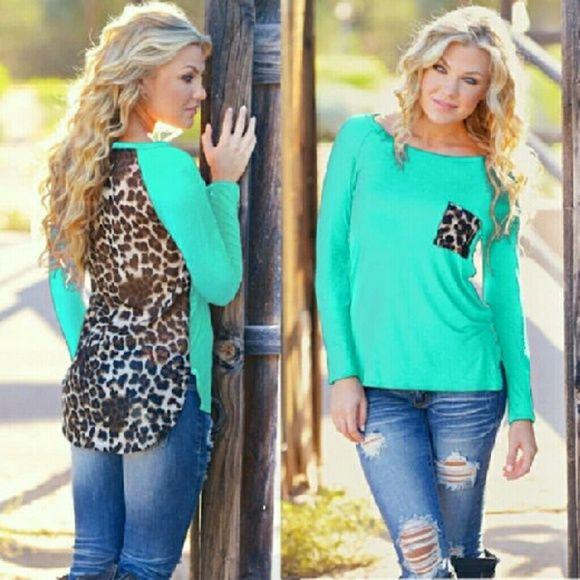 FINAL PRICE DROP!!! Aqua long sleeve leopard top NWT Tops Tees - Long Sleeve