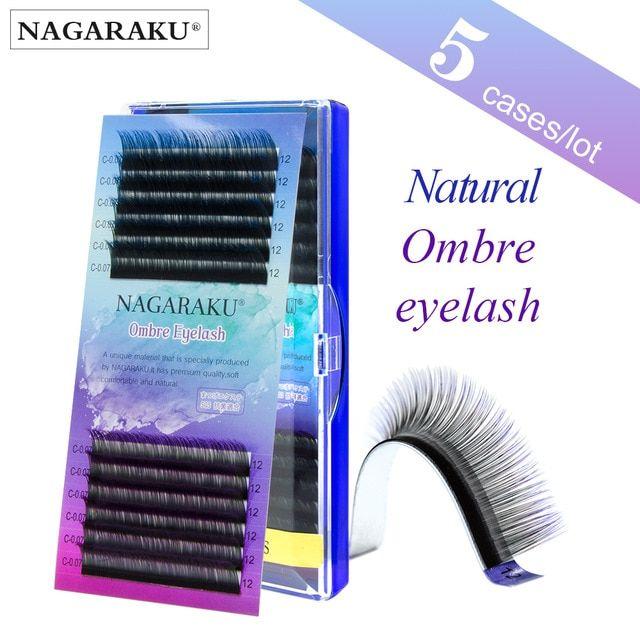 ad8220abf82 NAGARAKU 5 cases Ombre Color Purple blue Gradient rainbow color Individual  eyelashes 0.07C eyelash extensions Premium soft mink Review