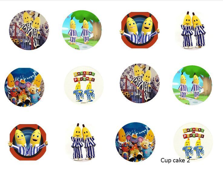 Bananas in Pajamas Edible Cupcake topper x12. 5cm round Icing Choose your Design in Home & Garden, Parties, Occasions, Cake | eBay