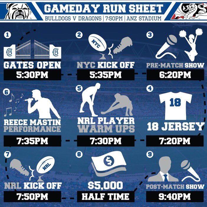 NRL Bulldogs ANZ Stadium Game day run sheet