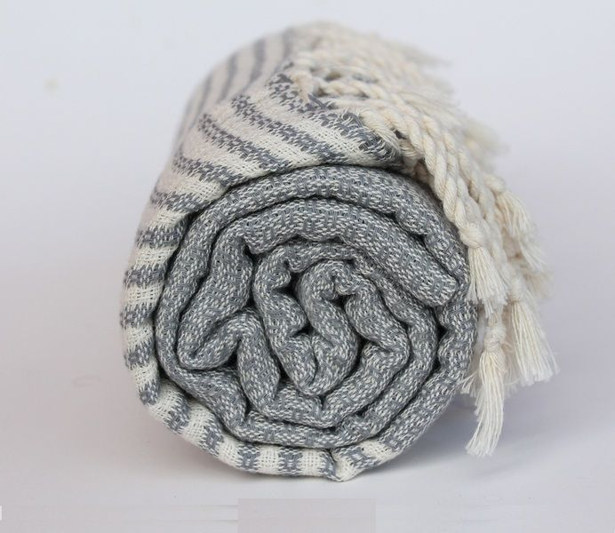 Hamamtuch Stripy Grey von strand-bad.com auf DaWanda.com
