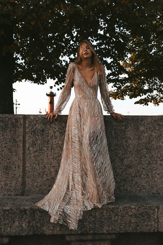 Galaxy by Boom Blush, Exclusive Sparkly Wedding Dress. Unique Bohemian Wedding Gown 2019. Perfect for Vintage, Boho or Beach Wedding