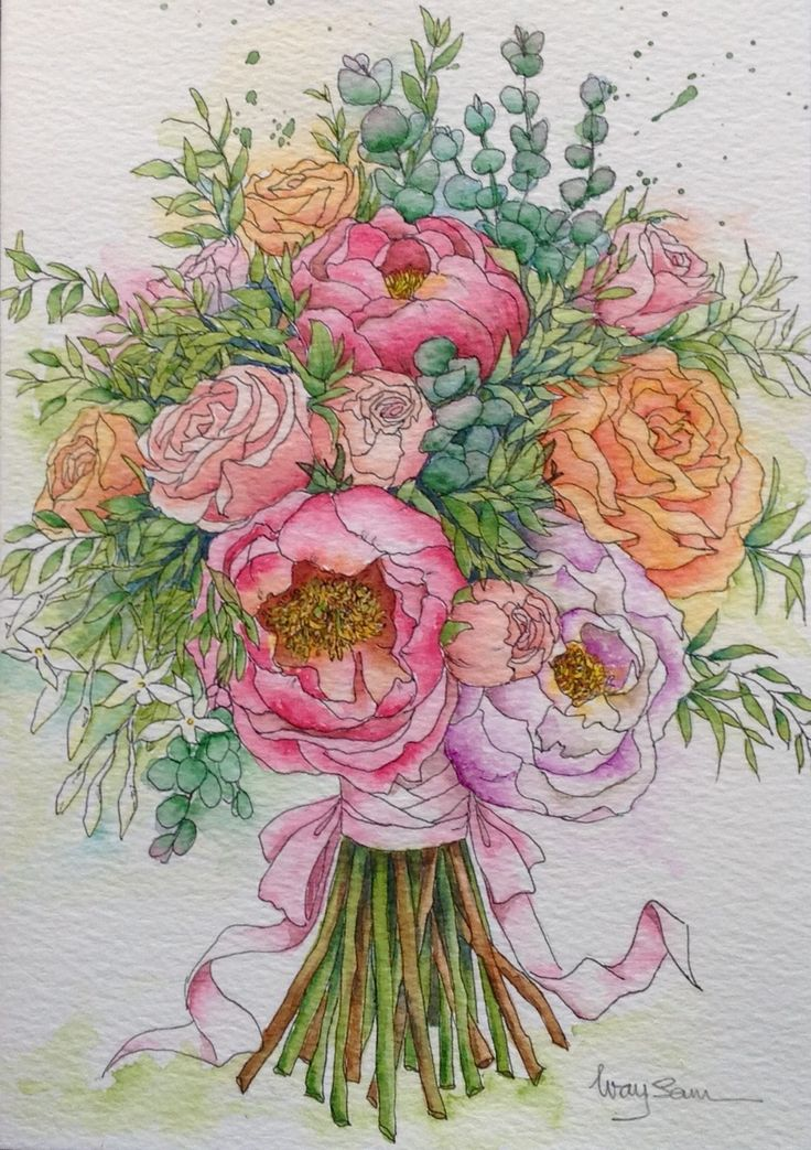 Bridal bouquet. Greeting card. A5 watercolour paper. Pen and watercolour painting.