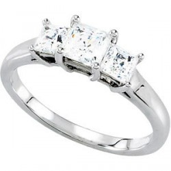 This gorgeous engagement ring has three high quality Princess Cut Diamonds set is a very sophisticated Platinum setting. The .5 carat center diamond and two .25 carat side diamonds make an elegant one carat (1.0 ct.tw) presentation that she will surely like. You can't go wrong with this engagement ring.