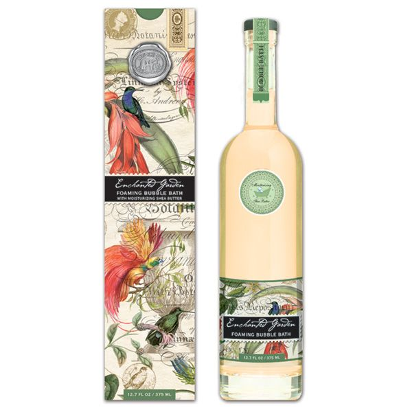 Michel Design Works Bubble Bath - Enchanted Garden. Say good-bye to boring and hello to beautiful. Our tinted bubble bath comes in a stunning, long-necked glass aperitif bottle fitted with a stopper.   Scent: Romantic Floral