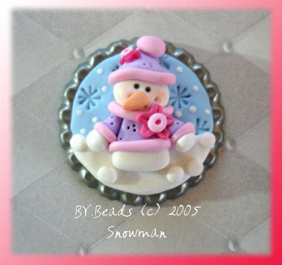 Snowman Polymer Clay Bottle Cap Bead by RainbowDayHappy on Etsy, $4.25