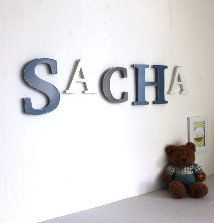 Grand prénom SACHA personnalisé bois bleu ardoise , gris et blanc patiné couleurs personnalisables - mariage - naissance - lettre : Décoration pour enfants par mylittledecor