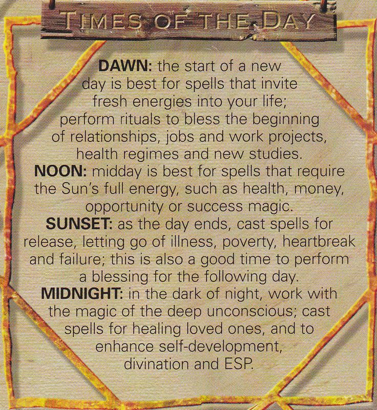 Magick Spells:  #Correspondences ~ Times of the Day.