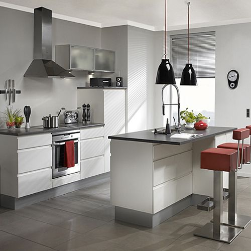 Minimalist Kitchen with White and Grey