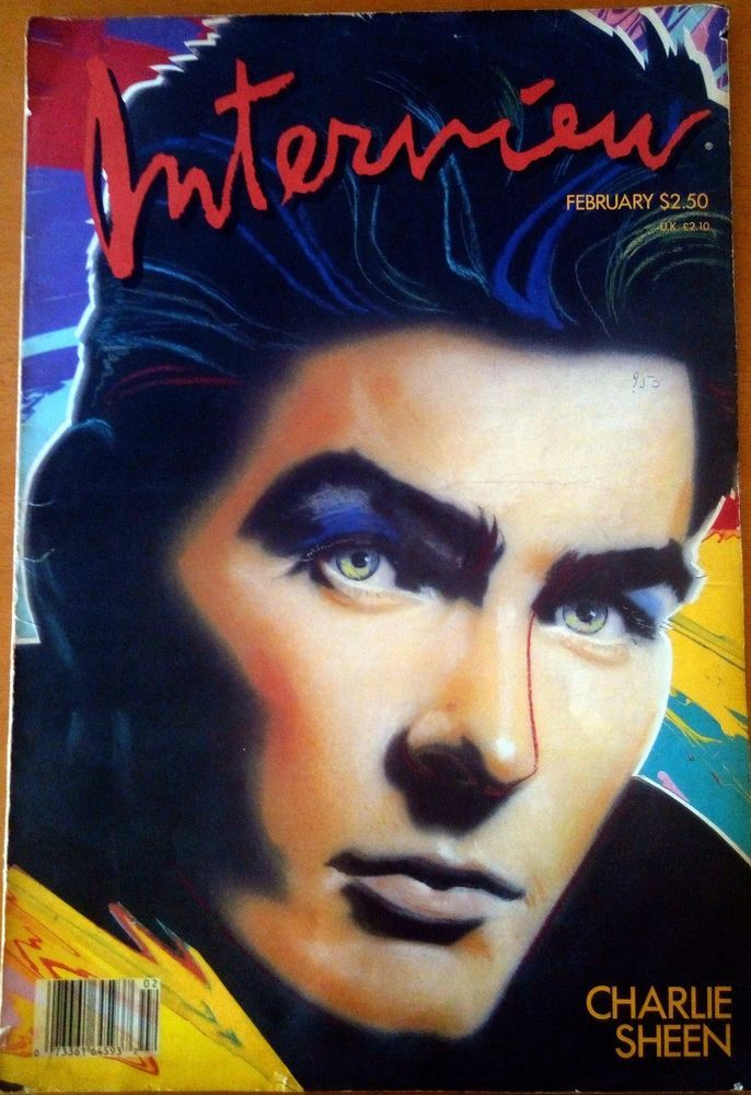 Andy Warhol Interview Magazine February 1987 Charlie Sheen   eBay