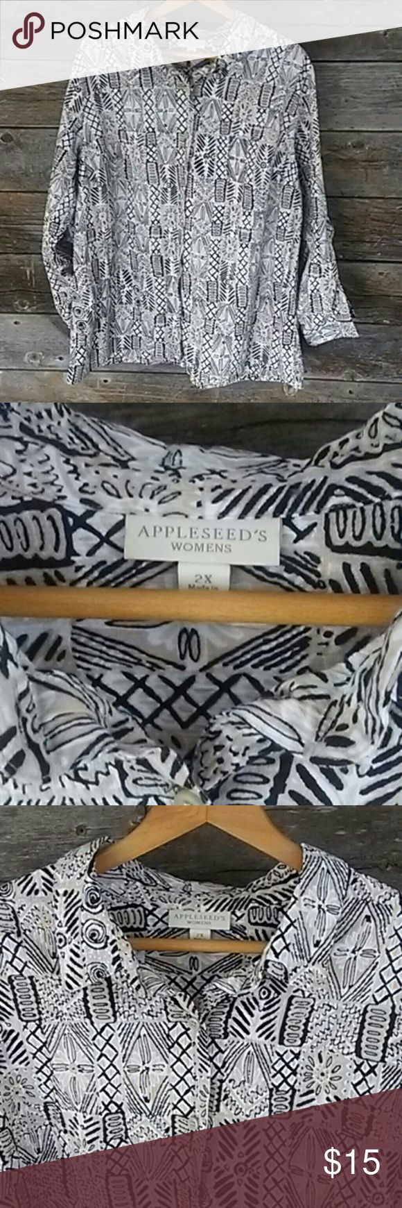 Appleseed's 2X Long Sleeve Tribal Long Sleeve Top Appleseed's 2X Long Sleeve Tribal Long Sleeve Top. Beautifully? designed perfect for spring and summer travels. Grab this shirt and your car keyes and explore the world.   Appleseed's has been providing classic, high quality apparel for women for over 70 years. You deserve the best of what life has to offer.   **Please take a look at my other LB items**  **All Lane Bryant cloths below $15.** Lane Bryant Tops Button Down Shirts