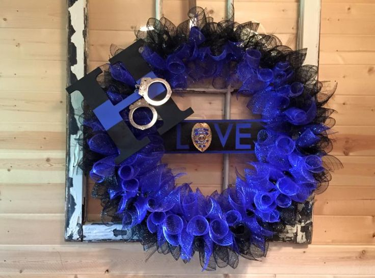 Police Thin Blue Line Law Enforcement Deco Mesh Wreath By