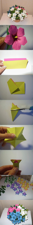 DIY красивые бумажные оригами цветок лилии Букет