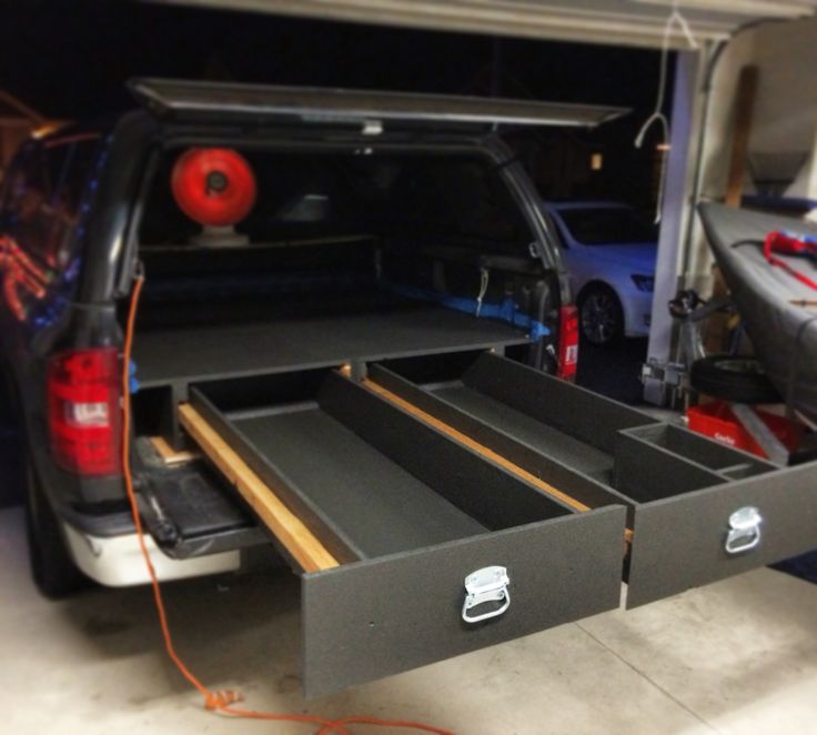 DIY truck bed storage system.