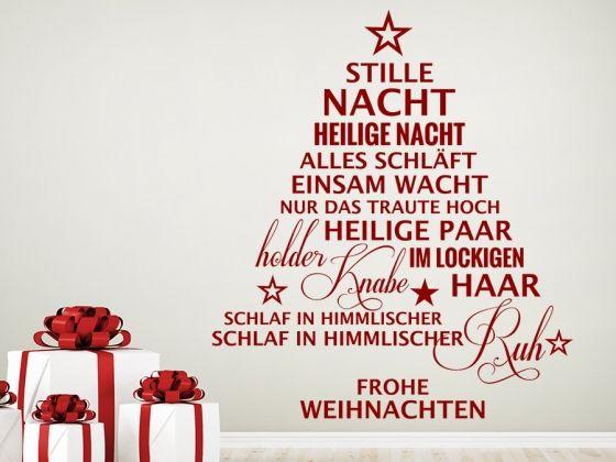 * Stille Nacht / heilige Nacht *  Kreative Weihnachtsdekoration für alle Sänger und Weihnachtsliedfans ;) #Wandtattoo #Weihnachtsbaum #Liedtext